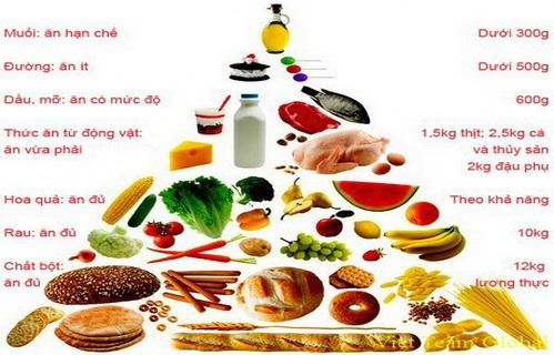 Tháp cân đối dinh dưỡng cho người cao tuổi (trung bình 1 người cho 1 tháng).