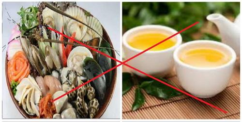 Không nên uống bia và uống trà sau khi ăn hải sản.